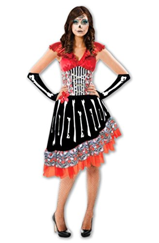 kaiser24 Day of The Dead Kleid Damen Halloween Karneval Knochenfrau (Calavera Catrina Halloween Kostüm)
