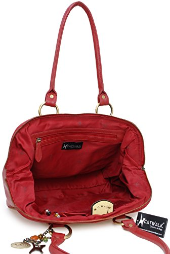 Catwalk Collection Handbags Borsa con manici, Donna, Rosso (Rot),