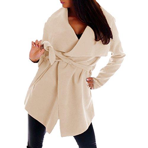Italien Damen Mantel Trenchcoat mit Gürtel One Size Kurz (beige)