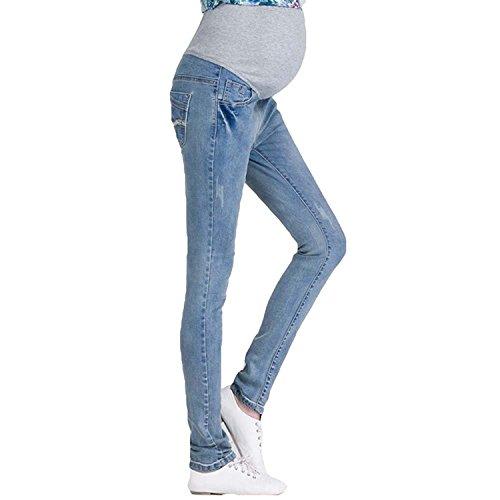 Inlefen Vintage Jeans de Maternidad: Sobre la Protuberancia, Mezclilla Embarazo Look Leggings Pretina