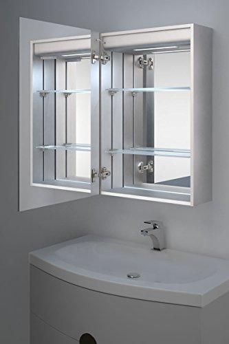 Calais LED-Badezimmerschrank mit Uhr, Spiegelheizung, Sensor & Rasierer k384 - 3