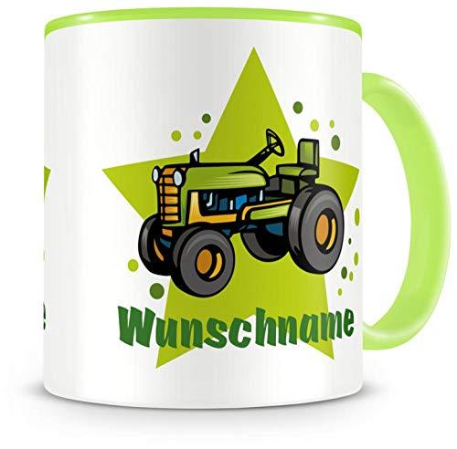 Samunshi Kinder-Tasse mit Namen und einem Alten Trecker Traktor als Motiv Bild Kaffeetasse Teetasse...