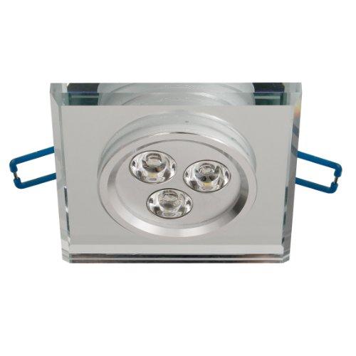 Trango 1x TG6729S-6.5W Dimmbare Quadrat Edel Design Einbaustrahler Spiegelglas & Alu mit warm-weißen 6,5W High Power LED Einbauleuchten