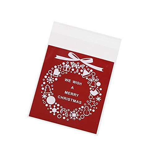 Cosanter 100Pcs Sac à Motif de Noël Rouge Stand Up Pouch réutilisable refermables Grip Seal Sacs de Stockage de Nourriture Sac d'emballage Pochettes