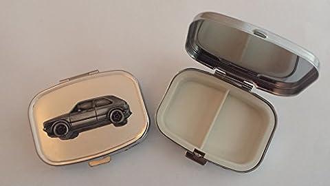 VW Golf GTI MK1ref299Effet Étain emblème sur Argent de voyage rectangulaire en métal Boîte à pilules