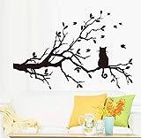 Autocollant mural Salon moderne détachable PVC Silhouette Art sticker mural branche arbre à chat avec oiseau Home Decor arbre sticker 88 * 59 cm