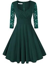 KOJOOIN Abito retrò Donna 1950 Vestito Donna retrò Rockabilly Polka Vestito  da Audery Swing Abito da 87fdb0c69c2
