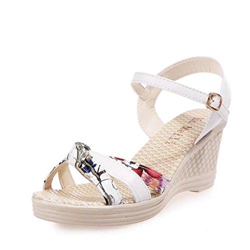 Sandalias mujer, Manadlian Mujer Sandalias de verano Cuñas Zapatos Día de San Valentín Zapatos de tacón alto (CN:35, Blanco)