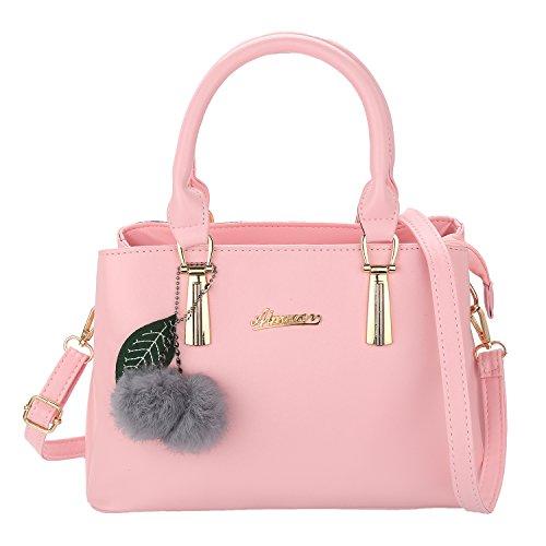 PU Handtasche Damen Umhängetasche mit Ball Geschenk für Mädchen 30x22x12 cm (Pink)