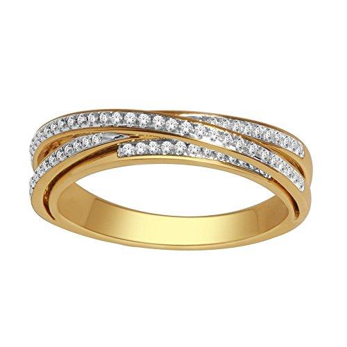 c97b2e2ba2aa Midwest Jewellery - Anillo de Oro Amarillo de 10 Quilates con Diamantes DE  0,4 Quilates para Mujer, diseño de Cruz Cruzada DE 4,5 mm de Ancho (0,25 ...