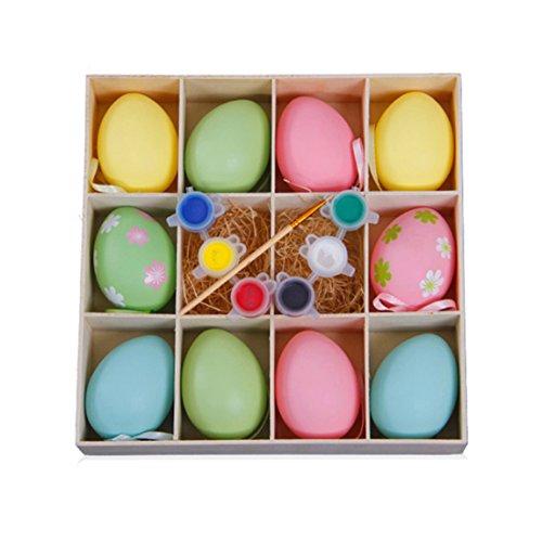 Ostereier 10 Sets DIY Bemalte Eier Kinderspielzeug Mit Stift Und Pigment, Plastik Ostern Dekoration