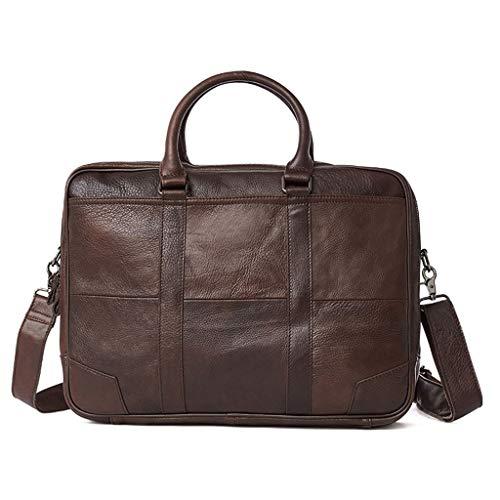 Minamoto Chisei Herren echtes Leder handgefertigt Aktentasche Schulter Messenger Business-Tasche for Laptop-Tasche (Color : Brown) - Zwickel-aktentasche Aus Leder