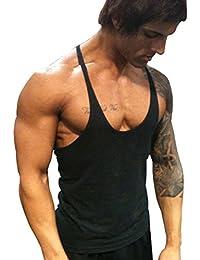 Musclealive Uomo Palestra Stringer Canottiera Cinturino da 1 cm Cotone Stretto