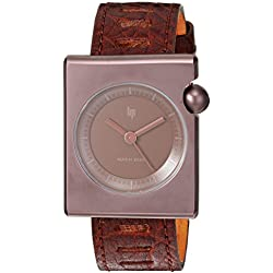 Lip Unisex 1892362 Square Mach Analog Display Swiss Quartz Brown Watch