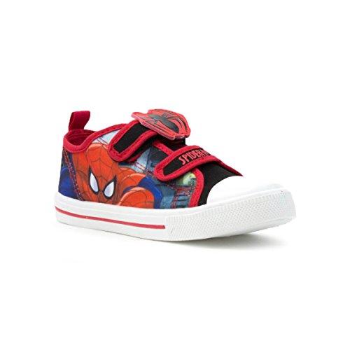 Spiderman Kinder Rot Klettverschluss-Canvasschuh - Größe 9 Child UK / 27 EU - Schwarz (Spider-man-klettverschluss)