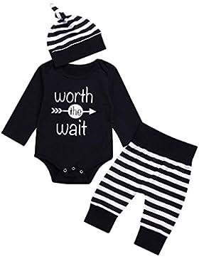 sunnymi Bekleidung 3tlg Baby Jungen Mädchen Langarm Strampler+Streifen Hosen+Hut Kleidung