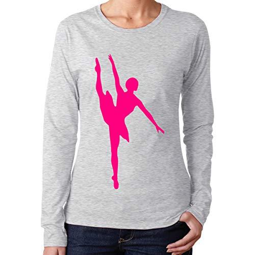 CCGTQ Hot Pink Ballet Dancer Women's Long Vintage Sleeve Gray T-Shirts - Sleeve Ballet Neck-shirt