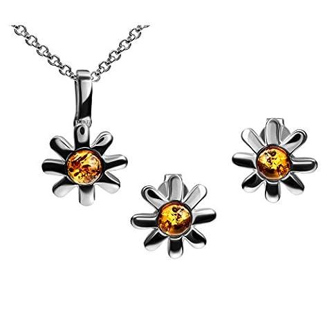 Boucles d'oreilles Fleur en argent sterling Ambre Pendentif Collier Chaîne 46cm