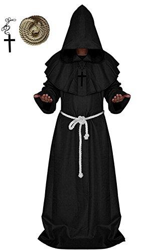 erzienser Mönch, VERNASSA Priester Mönch Robe Priester Cape Robe Halloween Cosplay Kostüm Umhang, S-XXL (Halloween Priester Kostüm)