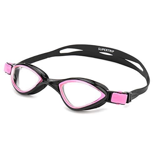 Supertrip Schwimmbrille Unisex Erwachsene-Schwimmbrille Verspiegelte Taucherbrille Mit Antibeschlag und UV Schutz,Taucherbrille mit Wasserdichter für Herren & Damen (Schwarz/Rot)