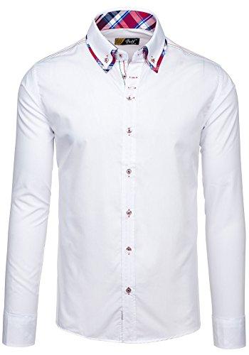 BOLF – Chemise casual – avec manches longues – BOLF 3701 – Homme Blanc