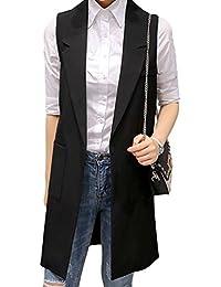 YiLianDa Mujer Abertura Frontal Chaleco Elegante Largo Cárdigan Sin Mangas  para Mujer edaa90c73d04