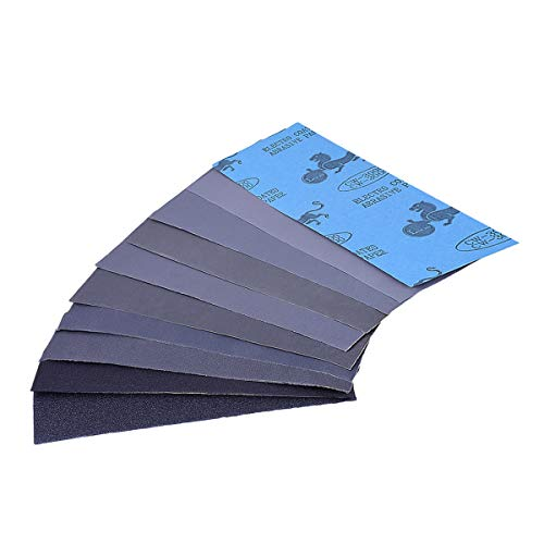 TankerStreet 30 PCS Schleifpapier Set 120 bis 3000 Grit Trocken Nass Schleifpapier Schleifmittel Wet Dry Sandpapier Sortiert Körnung für Metall Automotive Holz Möbel Veredeln 9 x 3.6 Zoll