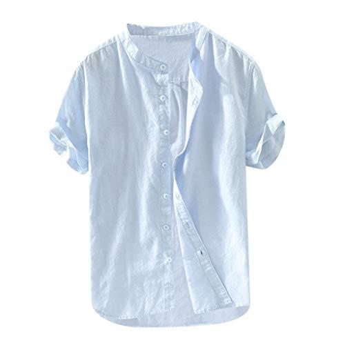 Luckycat Leinenhemd Herren Henley Shirt Herren Freizeithemden Herren Kurzarm & Langarm Hemd Herren Leinen Shirt Herren Leinenhemd Kurze Ärmel körperbetont leicht tailliert 100% Leinen