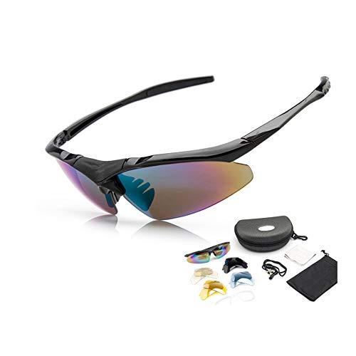 CZSM Fahrradbrillen für Männer und Frauen, Anti-Fog-UV-Sport-Sonnenbrille, Schutzbrille mit 5 Wechselgläsern, zum Schießen, Skifahren, Golfen, Laufen,Black