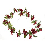 Floristrywarehouse Künstliche Weihnachtsgirlande, Weihnachtsstern, 167 cm, Rot