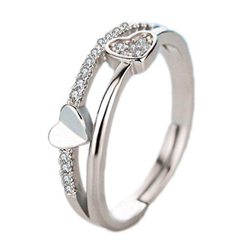 Hosaire Anillo de Plata de Diamante en Forma de corazón Estilo de la Mujer de Apertura Metal-Ajustable Regalo