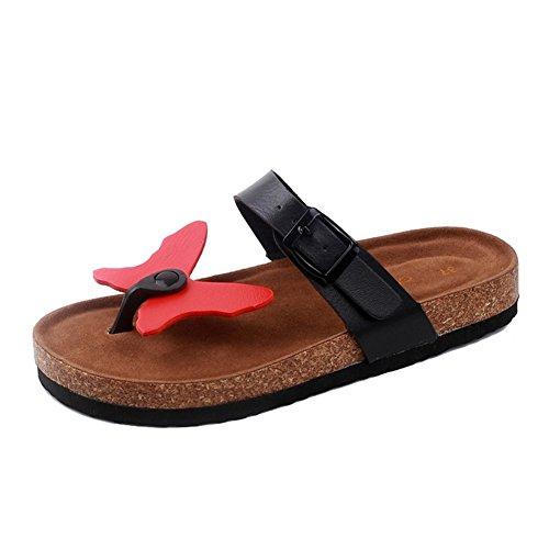 Damen Clip Toe Sandalen Strand Schuhe Pantoletten mit Korkfußbett Flip Flop Zehentrenner Offene Sandalen 7