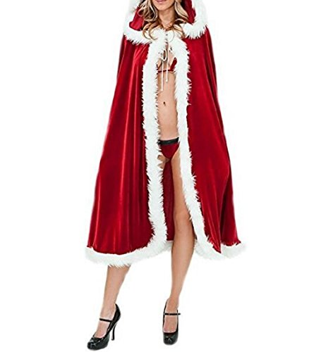 ✽ZEZKT✽Damen Weihnachts Cape Kostüme Umhang Party Cosplay Umhang Kapuzenumhang Langer Samtumhang mit Kapuze, Unisex (1.0m, Rot)