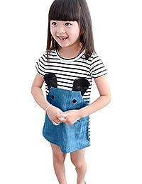 Mitlfuny Verano Vestido Ropa Niños Niña Manga Corta Dibujos Animados Ratón Rayas Vaquero Cosiendo Camiseta Falda Bautizo Princesa Vestidos Fiesta Cumpleaños para Bebé Niñas 1-5 Años