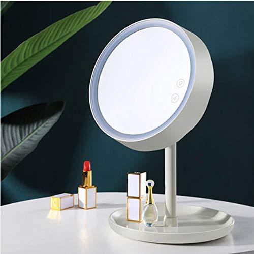 LED Kosmetikspiegel mit Licht füllen Licht Nachtlicht Mädchen Herz Studentenwohnheim mit USB tragbaren kleinen Spiegel Desktop Desktop Schminkspiegel-White