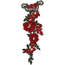 Cdet Pegatinas de tela tridimensional flores de peonía hilado bordado parche calcomanías accesorios de vestir coser