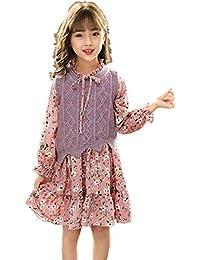 Filles Robes, L ananas 2pcs Longue Manche Floral Impression Tricoté Gilet+ Robe Knitted d3b285419f0