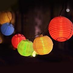 Idea Regalo - Eleganbello, Catena Luminosa, Striscia di Luci, 4m, 20 LED, Lanterne Colorate, Funziona con Batteria, Lucine Decorative per Interno e Esterno
