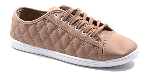 Damen Sneakers Freizeit Turnschuhe Low Top Schuhe 3VYX-14383 Khaki