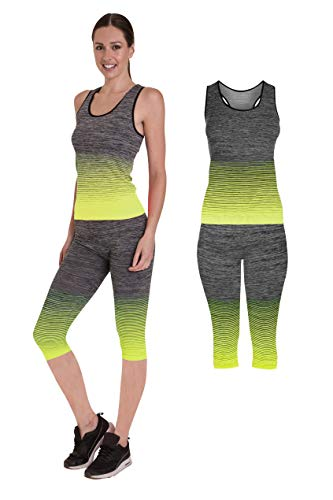 Unbekannt Bonjour Damen Sportswear Wear/Weste Crop Top & Leggings (2 Stück), Stretch-Fit, Yoga Gym Wear Set, 3/4 Length Vest Top Yellow, One Size (UK 8-14) -
