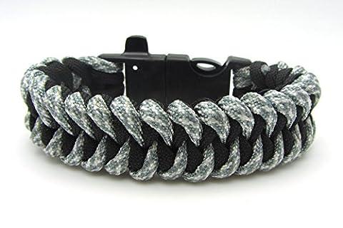Paracord Bracelet Universal Gris Shark avec sifflet et Allume-feu Survival corde bracelet tressé résistant à la déchirure corde de parachute Paracord Cordes 350 cordon de la marque PRECORN (Note: Ceci est PAS DESTINÉ À corde d