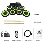 Roll Up Drum Kit Elektronische Digital Drum Portable - Faltbare Drum Pad Set Kinder Musical Praxis Instrument mit 2 Fuß Pedale, USB Kabel Drum Sticks Lautsprecher Kinder Anfänger - Weihnachtsgeschenk für Roll Up Drum Kit Elektronische Digital Drum Portable - Faltbare Drum Pad Set Kinder Musical Praxis Instrument mit 2 Fuß Pedale, USB Kabel Drum Sticks Lautsprecher Kinder Anfänger - Weihnachtsgeschenk