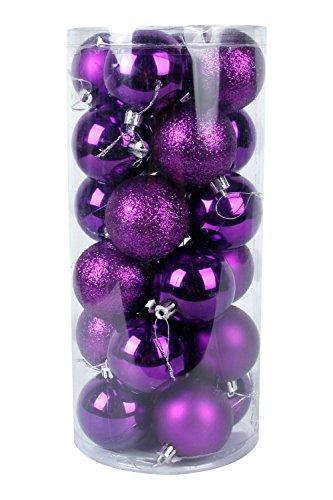 ecosway 24 x Rund Weihnachtskugeln Kugeln XMAS TREE Weihnachtsbaum Deko Weihnachten Kugeln Party Supplies Weihnachten Ornament, violett 4cm