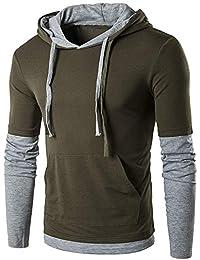 BUSIM Men's Long Sleeve Sweater Autumn Solid Color Drawstring Fashion Slim Pullover Fake Two-piece Hooded Sweatshirt... - B07HG2PQC1