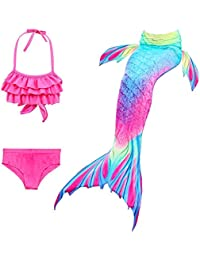1891c5143 Hamkaw Mermaid Tails for Swimming 3 Pieces Bikini Shiny Swimwear Set,  Swimsuit Cover