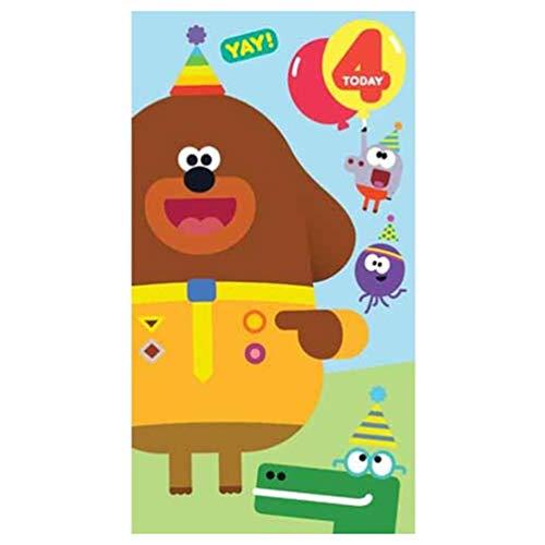 Zippy and George HD003 Geburtstagskarte zum 4. Geburtstag, Motiv Hey Duggee (George Party Supplies)