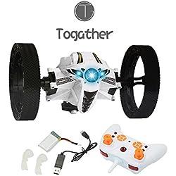 Togather ® 2,4 g de control remoto mini coche de despedida, coche de salto, RC Bounce salto de sumo coche mini coche de juguete con 2 segundos de rotación y LED Night Lights Bounce RC Toy (blanco)