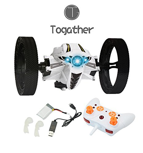 Togather-24G-Remote-Control-Mini-Bounce-Car-Jumping-Car-RC-Bounce-Jumping-Sumo-Car-Mini-Car-Toy-Car-with-2-Second-Rotation-and-LED-Night-Lights-Bounce-RC-Toy-White