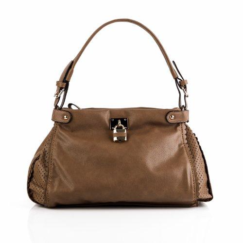 HERGÉ® sac porté épaule PAULINE - grand cabas - Shopper avec sangle sac femme châtain clair sac cuir véritable