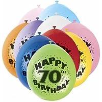 70th Happy Birthday Latex Balloons 10pk